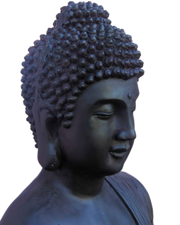 Buda Sidarta Gautama Preto Grande - 85cm (Resina)