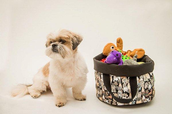 Cesto para Brinquedos - Estampa Cachorrada