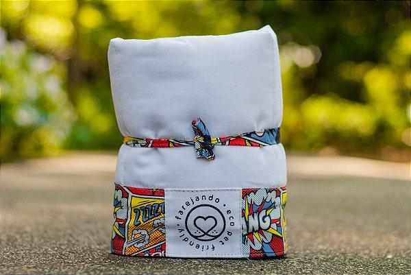 Tapete Higiênico Lavável - Estampa Quadrinhos -Tecido Branco