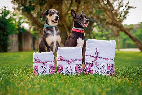 Tapete Higiênico Lavável - Estampa Vida de Cão - Tecido Branco