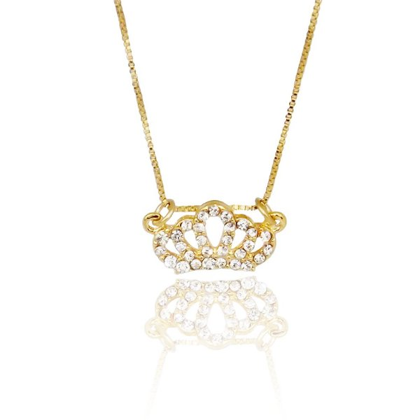 Colar coroa com micro zircônia folheado a ouro