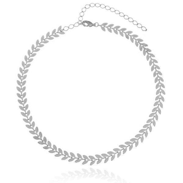 Colar choker escamas folheado em prata