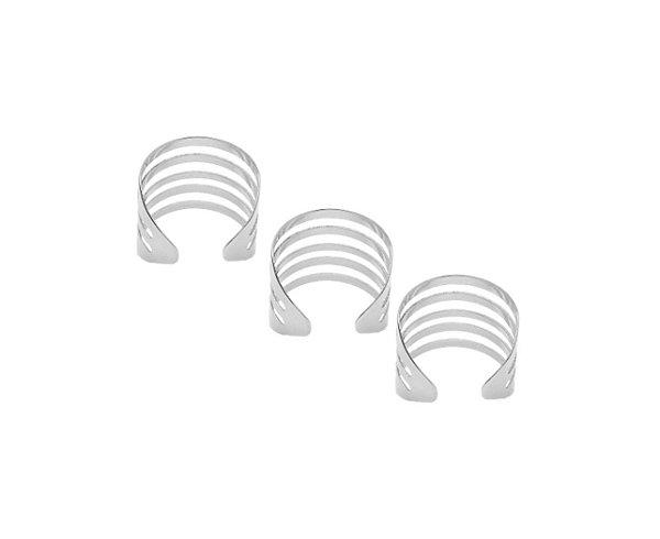 Trio de anéis gladiador reguláveis folheados em prata