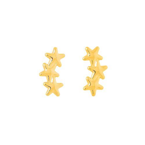 Brinco tres estrelas folheado em ouro