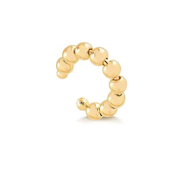 Brinco piercing de bolinhas folheado em ouro 18k