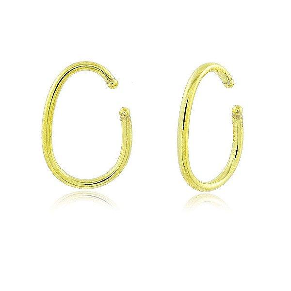 Brinco piercing oval de tubo folheado em ouro