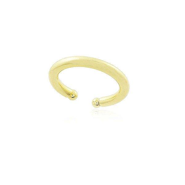 Brinco piercing tubo liso pequeno folheado em ouro