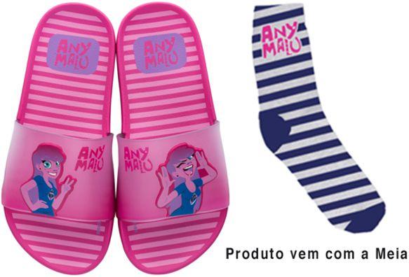 Chinelo Slide Any Malu Pink Fun Rosa Com Meia Grendene kids
