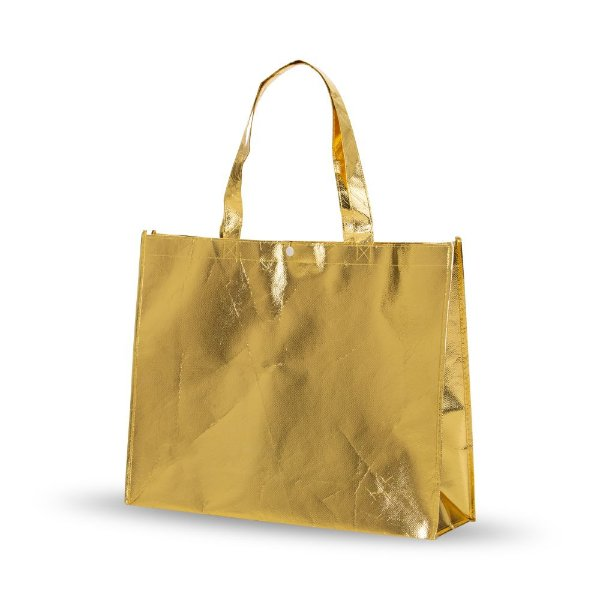 Sacola TNT Metalizada Dourada (35cm x 45,50cm)