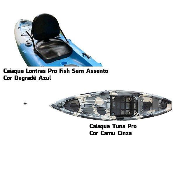 Caiaque Tuna Pro Camu Cinza e Lontras Pro Fish Degradê Azul - Bruno