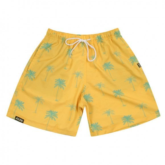 Shorts Alfa Skate Coqueiros Tropical Amarela