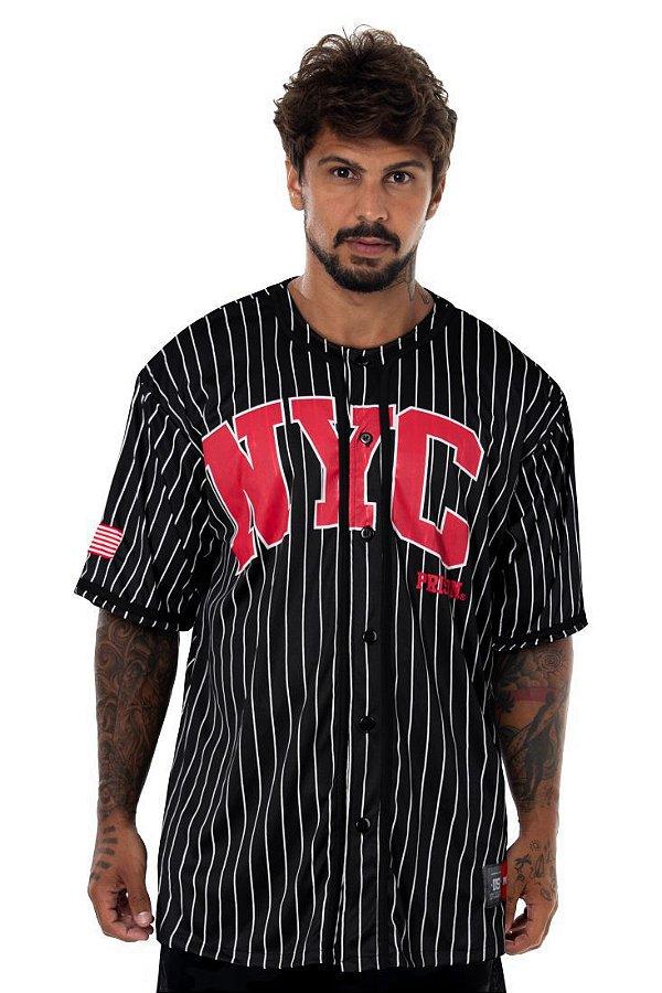 Camisa De Baseball Prison Listrada Nyc Preta