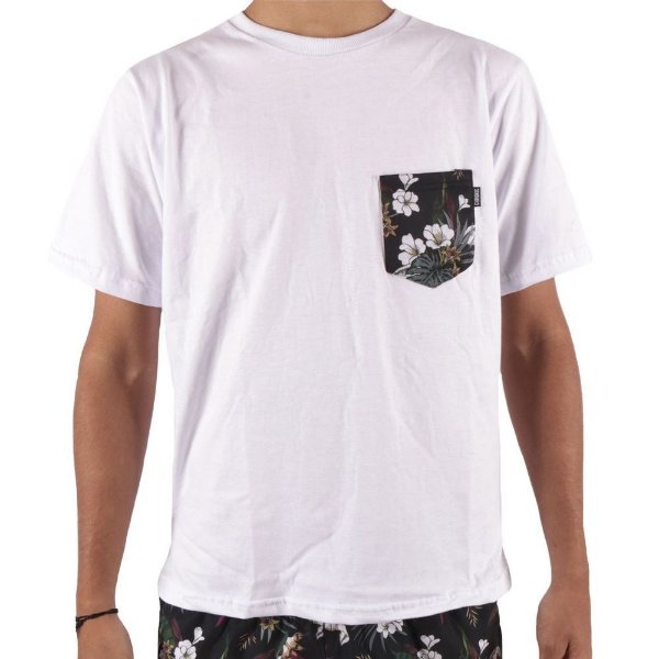 Camiseta Chronic Branca Bolso Floral