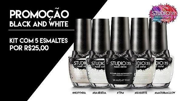 Kit Black White 5 Esmaltes por R$25,00