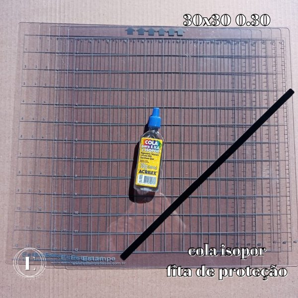 Kit 6 bases 30x30 0.30 (com cola) + BRINDES (cola isopor + fita de proteção)