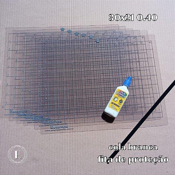 Kit 6 bases 30x21 0.40 (com cola) + BRINDES (cola branca + fita de proteção)