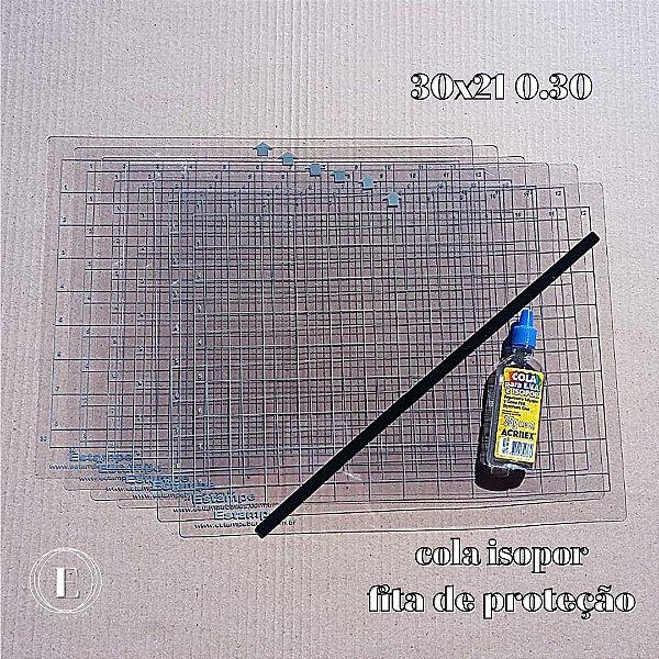 Kit 6 bases 30x21 0.30 (com cola) + BRINDES (cola isopor + fita de proteção)