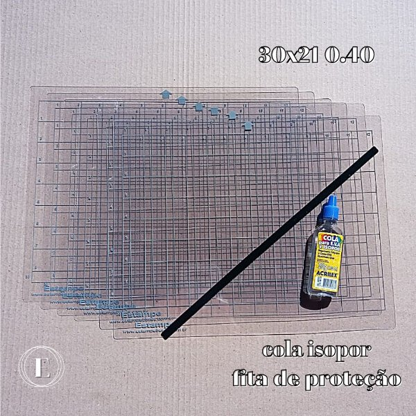 Kit 6 bases 30x21 0.40 (com cola) + BRINDES (cola isopor + fita de proteção)