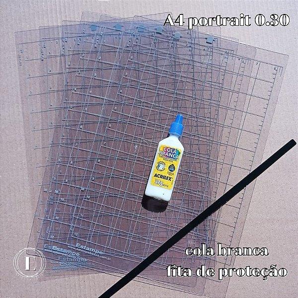 Kit 6 bases A4 portrait 0.30 (com cola) + BRINDES (cola branca + fita de proteção)