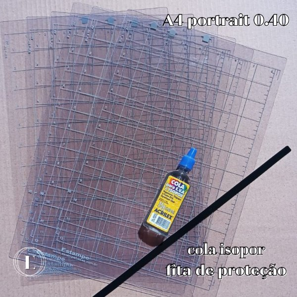 Kit 6 bases A4 portrait 0.40 (com cola) + BRINDES (cola isopor + fita de proteção)