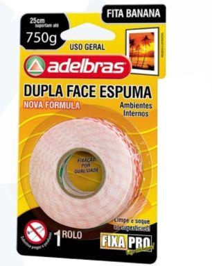 Fita banana dupla face Adelbras 12mmx2mm