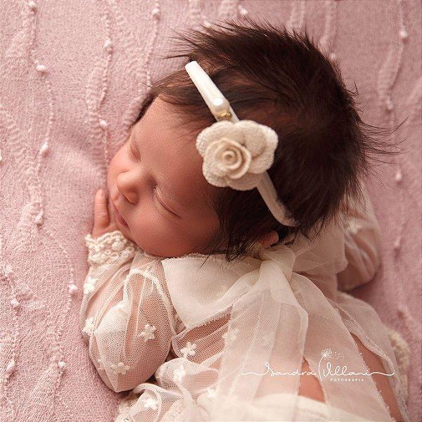 Faixa de Cabelo de Bebê flor e pérola