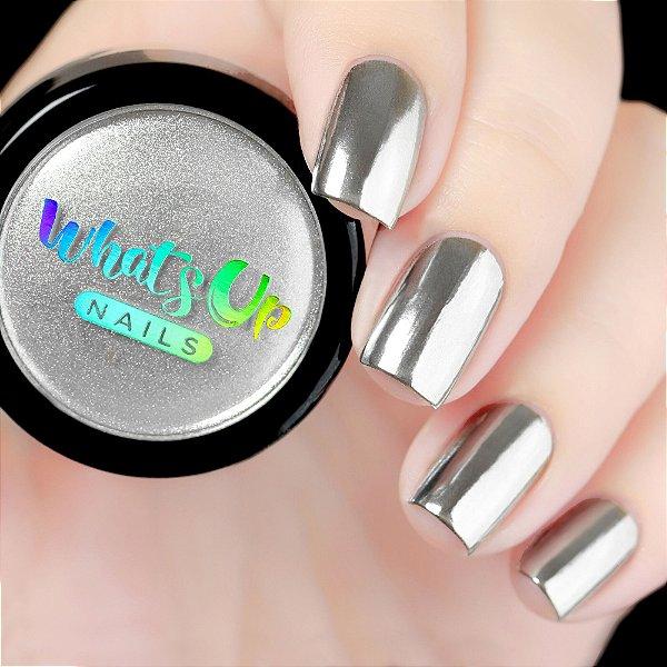Pó Para Unhas Efeito Cromado Prata Whats Up Nails - Chrome