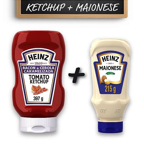 Kit c/ Ketchup Heinz Bacon 397g e Maionese Heinz 215g