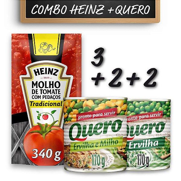 Kit c/ 3 Molhos de Tomate Tradicional Quero 340g + 2 Ervilhas e Milho Quero 170g + 2 Ervilhas 170g