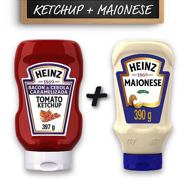 Kit c/ Ketchup Heinz Bacon e Cebola Caramelizada 397g e Maionese Heinz 390g