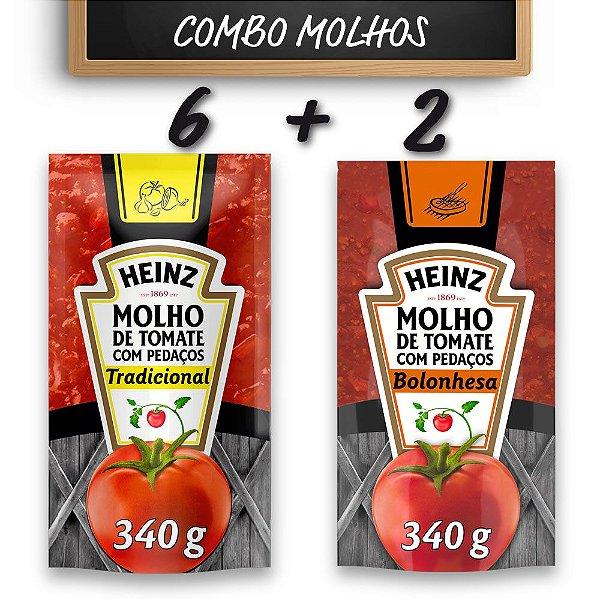 Kit c/ 6 Molhos de Tomate Heinz Tradicional + 2 Molhos de Tomate Heinz Bolonhesa
