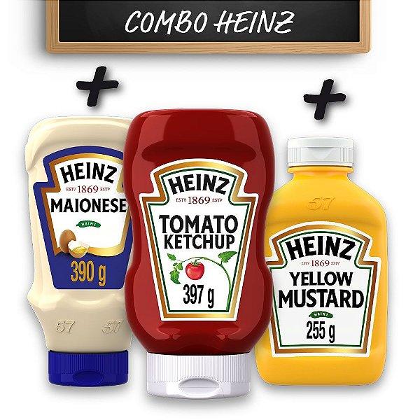 Kit c/ Ketchup Heinz 397g + Maionese Heinz 390g + Mostarda Heinz 255g