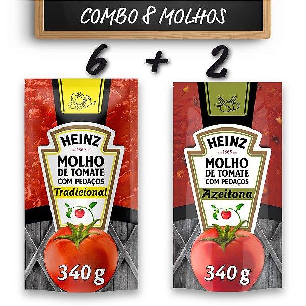 Kit c/ 6 Molhos de Tomate Heinz Tradicional 340g + 2 Molho de Tomate Heinz Azeitona