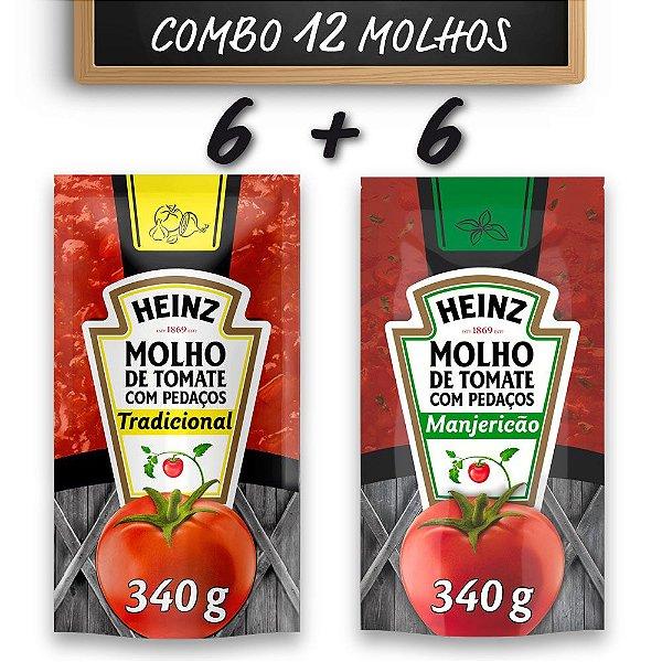 Kit c/ 6 Molhos de Tomate Heinz Tradicional + 6 Molhos de Tomate Heinz Manjericão