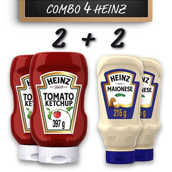 Kit c/ 2 Ketchups Heinz Tradicional 397g e 2 Maioneses Heinz 215g