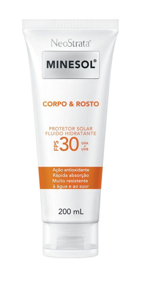 Neostrata Minesol Corpo e Rosto Protetor Solar Fluido Hidratante FPS 30 200 ml