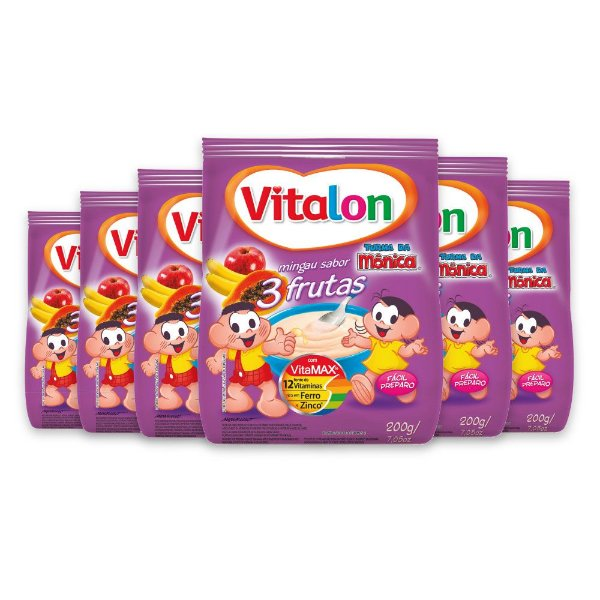 Mingau Vitalon Turma da Mônica 3 Frutas sachê 200g - Kit c/ 6un