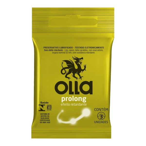 Preservativo OLLA Lubrificado Prolong 3 unidades