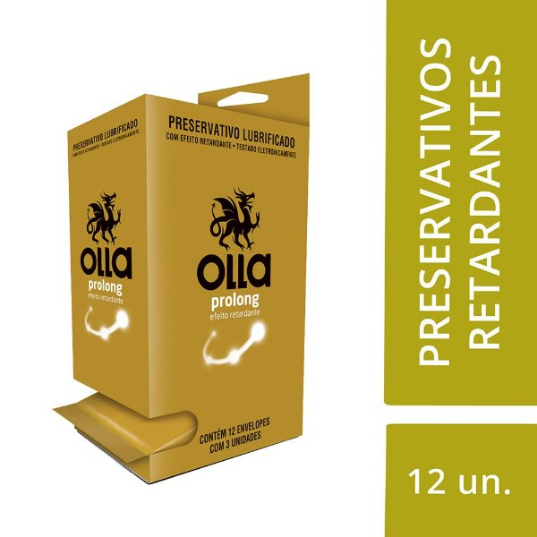 Preservativo OLLA Lubrificado Prolong Display com 12 unidades