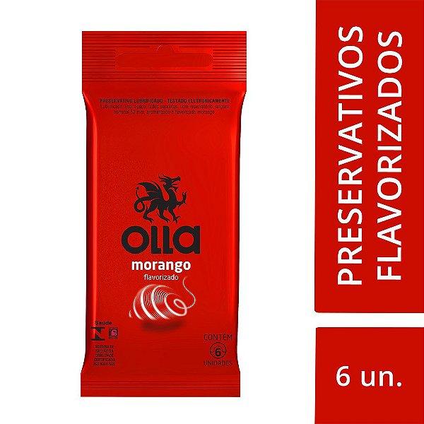 Preservativo OLLA Lubrificado Sabor Morango 6 unidades