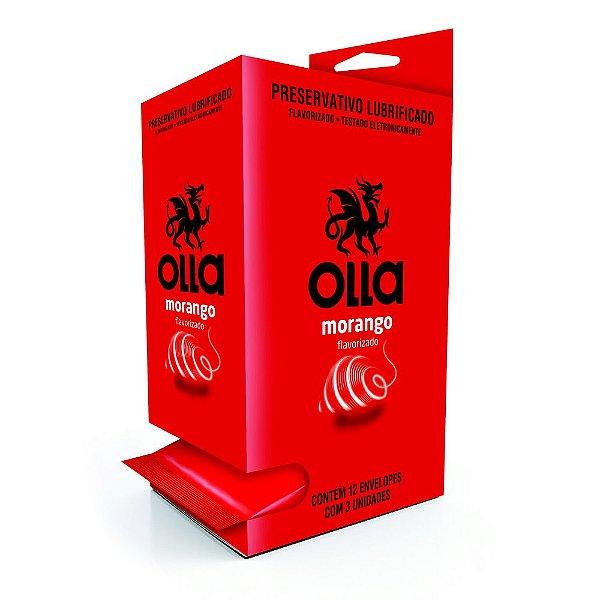 Preservativo OLLA Lubrificado Sabor Morango Display com 12 unidades