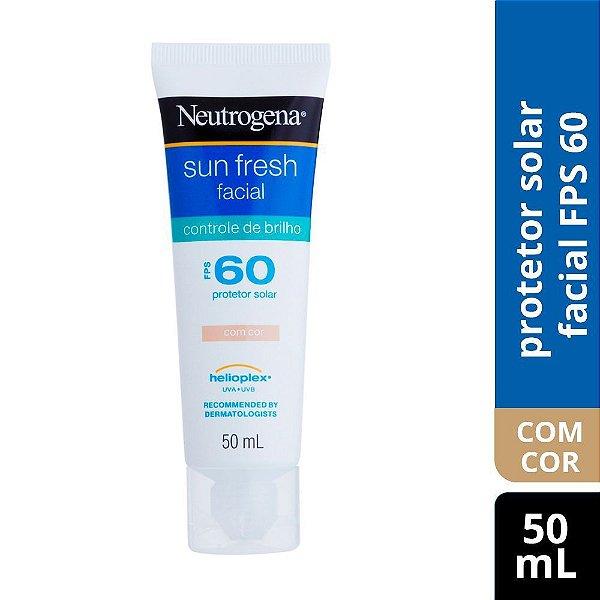 Protetor Solar NEUTROGENA Sun Fresh Facial Controle de Brilho com cor FPS 60 50ml