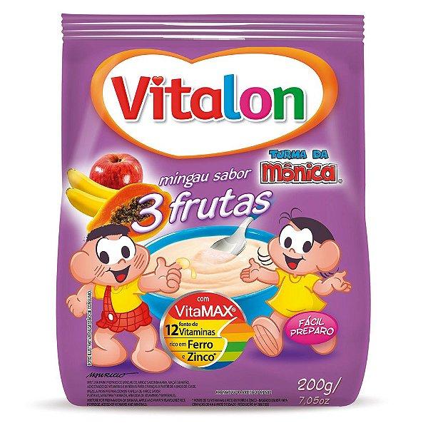Kit c/ 12 Mingau Vitalon Turma da Mônica 3 Frutas sachê 200g