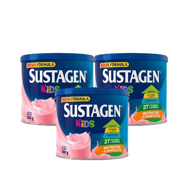 Kit c/ 3 Sustagen Kids 380g Morango