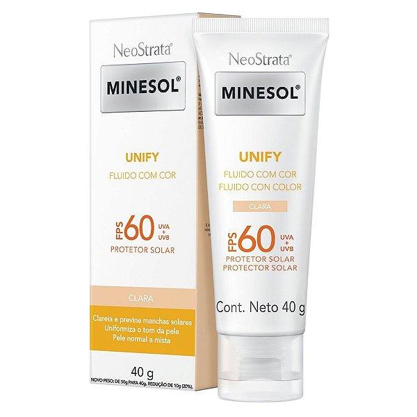 Protetor Solar Facial Neostrata Minesol Unify Fluido com cor Pele Clara FPS 60 40G