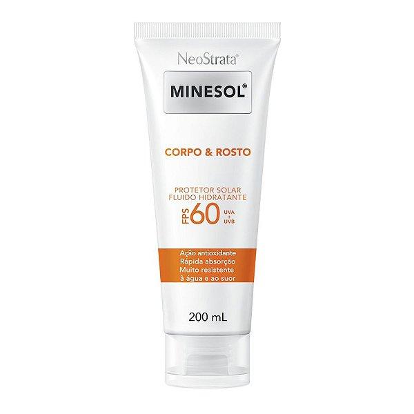 Neostrata Minesol Corpo e Rosto Protetor Solar Fluido Hidratante FPS 60 200 ml