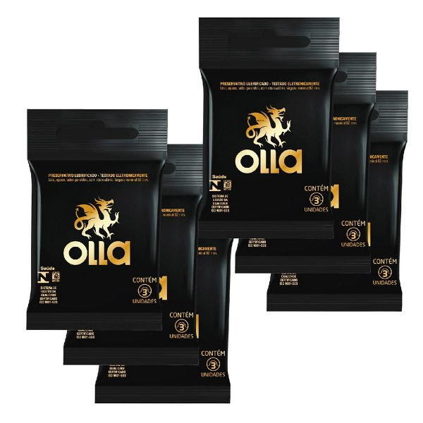 Kit c/ 6 Preservativo OLLA Lubrificado 3 unidades