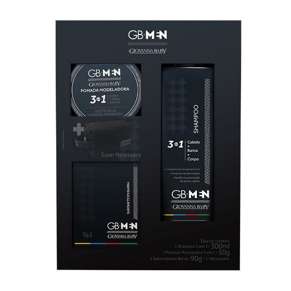Kit  GB Men Shampoo 300ml + Sabonete 90g + Pomada Modeladora 50g