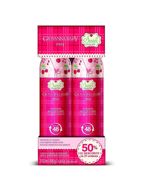Pack c/ 2 Desodorante Aerossol Giovanna Baby Cherry 150 ml