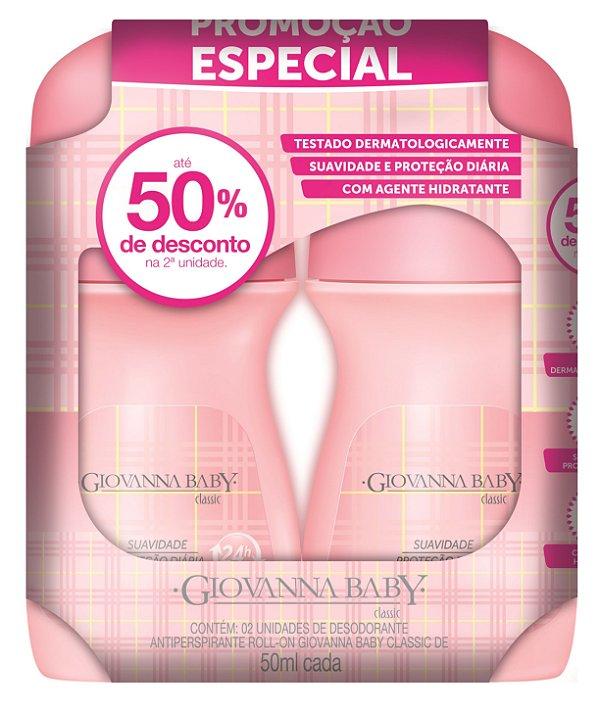 Pack c/ Desodorante Rollon Giovanna Baby Classic 50 ml